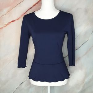 ANN TAYLOR Navy Stretch Crew Peplum Top